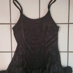 Crushed Black Velvet Dress